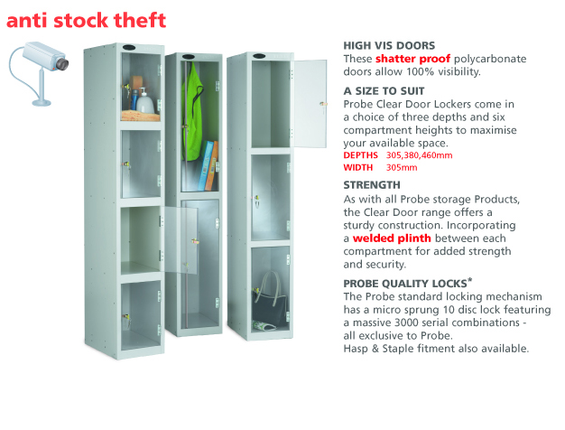 Clear door lockers for extra site security.